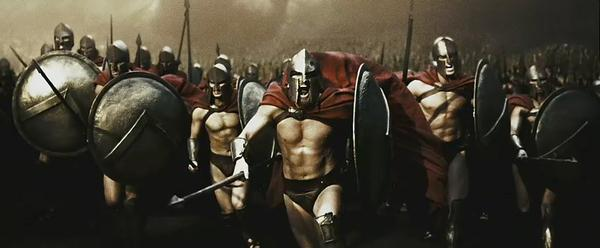 Spartans! Ready your breakfast and eat hearty... For tonight, we dine in hell!