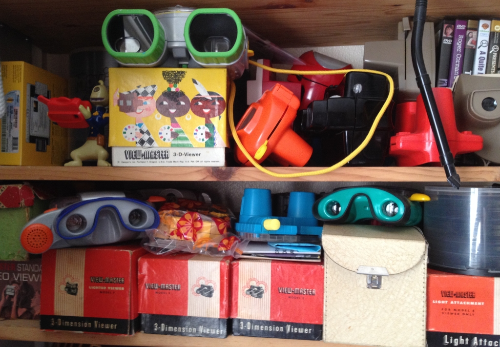 Shelf of vintage Viewmasters